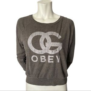 Obey Grey Cropped Raglan Sleeved Top Size XS